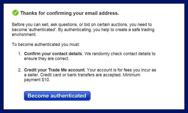 メールで確認ボタン押した後の画面 トレードミー trademe ニュージーランド オークション